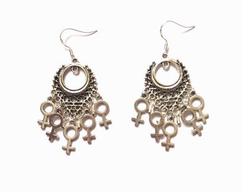 Feminist Earrings, Venus Symbol Earrings, Woman Symbol Earrings, Riot Grrrl Earrings, Girl Gang Earrings, Girl Power Earrings, Feminism