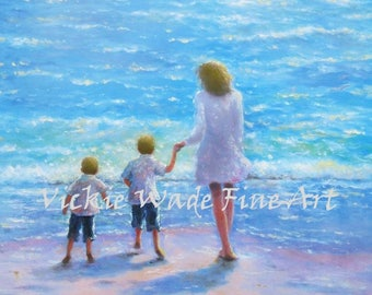 Mother and Two Sons Beach Art Print, mother and two boys, two beach boys, two brothers beach, blonde hair, loving mother, Vickie Wade Art