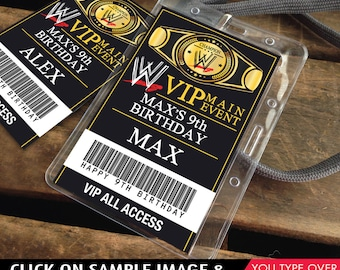 Wrestling VIP Badges - ID Party Badge, Wrestle Mania, wwe, Self-Editing | D.I.Y. Editable Text INSTANT Download Printable