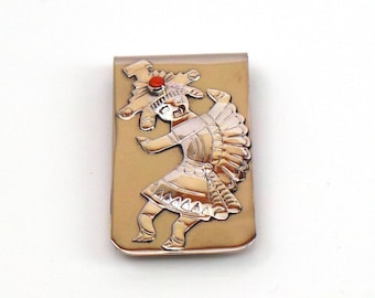 Handmade Native American Navajo Sterling Silver Coral Kokopelli Money Clip