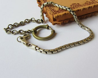 Vintage pocket watch chain,Silver tone chain,Antique watch chain,Chain for pocket watch,Pocket watch holder,Vintage jewelry