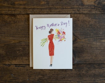 Mother's day card - lady with bouquet - hand painted - illustrated card