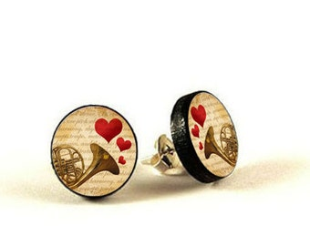 French Horn - handmade stud earrings - decoupage