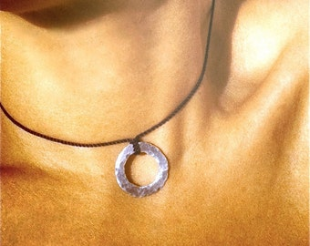 Rustic Hammered Silver Circle Pendant Necklace