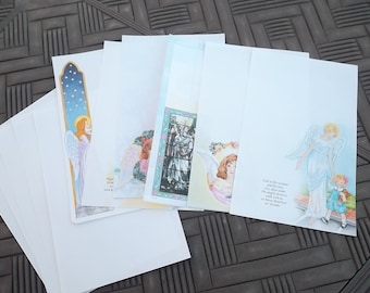 Vintage, 1996, Angel Note Paper, 7 Different Designs, 7 Blank Pages, Stationery