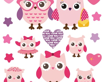 GET STICKING DÉCOR® Cute owl wall stickers/ wall decals collection, owls.1 (Medium)