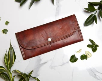 Handmade Long Leather Wallet - Coin Purse - Leather Purse - Card Holder