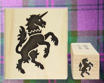 Rampant Unicorn Rubber Stamp Set Heraldic Symbol National Animal of Scotland