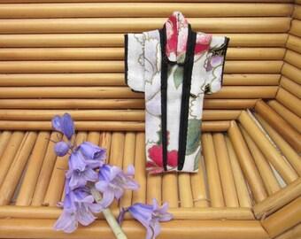 "PIN 3-inch ""Peony Plum Blossom, Black"" Kimono. Fabric Origami Kimono Pin: Red, Purple. Flowers. Wearable Art. Wear it. Hang It. Frame It."