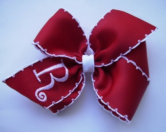 Red Crochet Initial, Valentines Day, Hair Bow, Monogram Letter, Embroidered Bows, Girls Hairbows, Rustic Classic, Medium Ribbon, Moonstitch