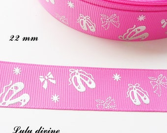 Pink grosgrain Ribbon with ballerina effect 22 mm sold by 50 cm