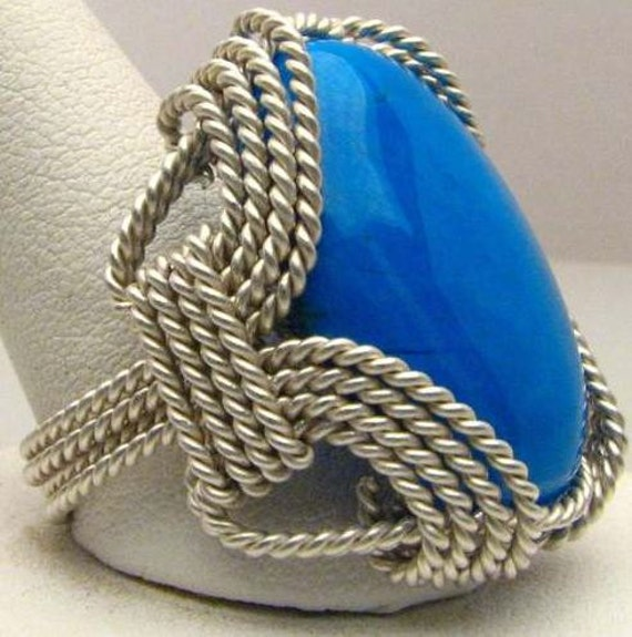 Handmade Wire Wrapped Howlite Dyed Turquoise Sterling Silver Ring. Custom Personalized Sizing to fit you.