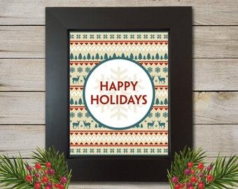 Christmas Knit Printable - Instant Download - Christmas Print - Christmas Art - Holiday Print - Digital Art Christmas - 8x10 Print