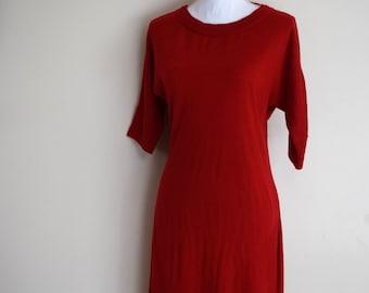 salvation armani vintage sweater dress - red sweater dress - vintage calvin klein - red color block sweater dress - vintage size small
