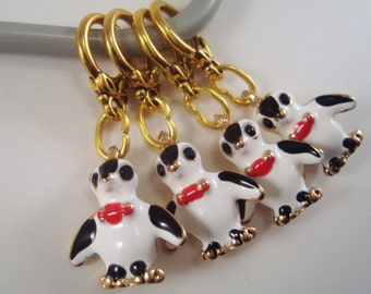 Penguin Knitting Stitch Markers Enameled Tuxedo Penguins Gold Set of 4 /SM202