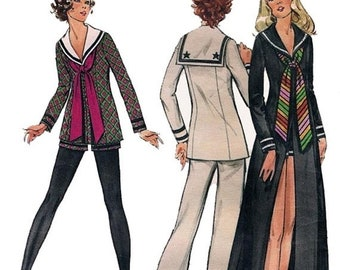 ON SALE Vintage 70s Nautical Middy or Maxi Tunic with Pants or Shorts Sewing Pattern Butterick 6489 1970s Retro Pattern Size 8 Bust 31.5