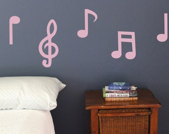 Music Notes Wall Decals, Set of 10, stickers, Sheet of music, Playing, sound Decoration, Decor