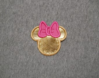 Made to order ~Small  Miss Mouse Gold/Pink iron on or sew on applique patch