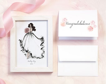 Bride Gift from Friend - Bridal Shower Gift - Gift Idea for Bride from Bridesmaid - Gift for Bride from Maid of Honor -  Rose Wedding Card