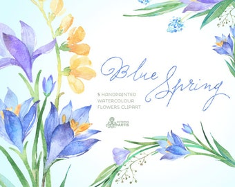 Blue Spring Watercolour Flowers Clipart. Handpainted watercolor, wedding, spring floral, invitations, greetings, blossom, romantic, crocus