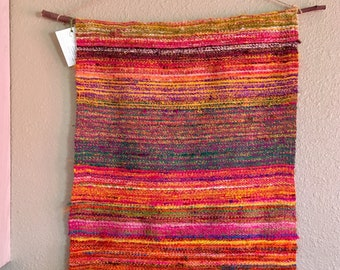 Hand woven reclaimed silk wall hanging
