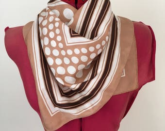 Vintage scarf - retro Brown and white spots and stripes