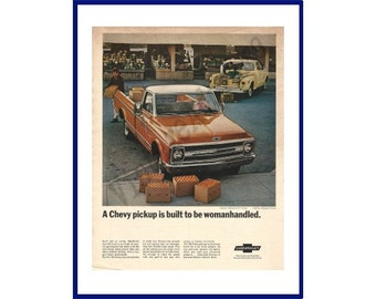 """1969 CHEVROLET PICKUP TRUCK Original 1968 Vintage Extra Large Color Print Ad - Red Fleetside """"A Chevy Pickup Is Built To Be Womanhandled"""""""