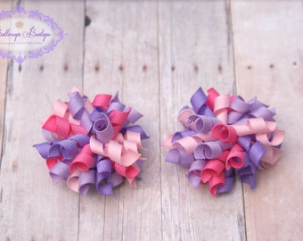 Korker hair bow, pink and purple bitty korker, mini korker, baby hair bow, girl hair bow