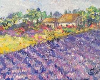 "Provence Farmhouse Provence Lavender Field Landscape original painting 5 x 7"""