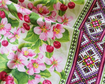 Sale 5.99, Sparse Weave (Rogozhka) Cotton 100%, print Blooming Cherry, width 150cm/59in