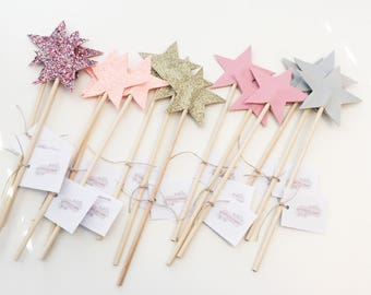 Pack of 5 Glitter star wands   glitter star wand, fairy wand, girls accessories, birthday gift, party bag, party favours