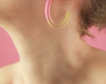 Ombre Pink and Yellow Hoop Earrings  - Bold Laser Cut Hand Dyed Dip Dyed Gradient Acrylic Perspex Geometric Earrings