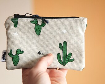 cactus wallet / small bag / coin purse hippie / coupon organizer / mini make up bag