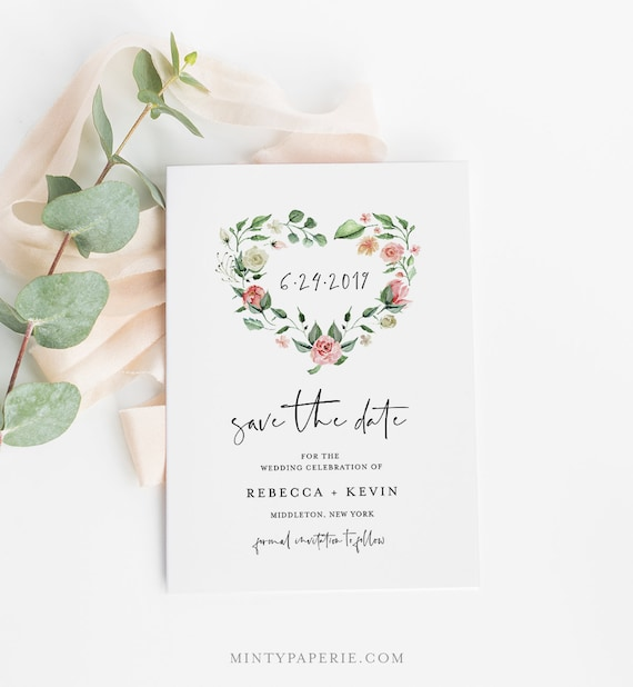 Printable Save the Date, Instant Download, 100% Editable Text, Wedding Date Template, Heart Wreath, Templett, DIY, 4x6 & 5x7 #058-133SD