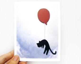 Black Cat Cat, Paper Cut Card, Pet Art, Red Balloon, Personalized Anniversary Card, Valentines Day, Blank Card, Happy Birthday, Sympathy