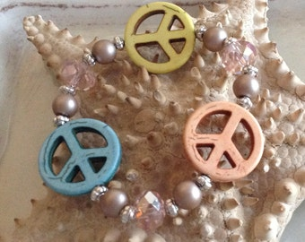 Peace Bracelet, Peace Sign, Elastic, Bohemian, Hippy Jewelry, Boho C33