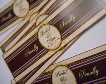 Wedding Cigar Bands - Custom Printed for you -  Cigar Labels for Birthdays - Rehearsel Dinner - 16 Bands