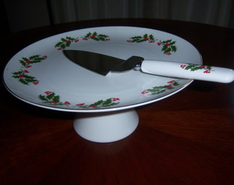 Holly Holiday Cake Stand & Serving Trowel