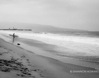 Black and White Surf Photography, Hermosa Beach Photography, California Coast Art Prints Los Angeles Surfer Print Coastal Wall Art Surfing