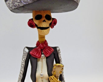 """MARIACHI CATRINA, musician guitar player, handmade, mexican day of the dead, 10"""""""