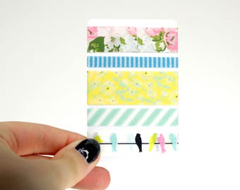 Floral Planner Washi Sampler, 5 Washi Tape Samples for your Erin Condren Life Planner, Mambi Happy Planner, Planner Accessories