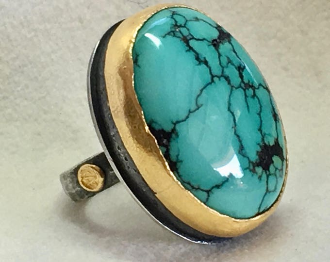 Featured listing image: Turquoise Statement Ring in Textured 24k Gold & Black Sterling Silver