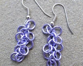 Chain Maille Earrings, Lavender Purple Earrings, Pastel Jewelry, Shaggy Loops Earrings, Jump Ring Jewelry