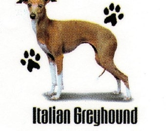 "ITALIAN GREYHOUND Fabric with Paws. Actual picture is approx 11"" x 11"" on ONE 18"" x 22"" Fabric Panel To Sew or Quilt.  Sale!"