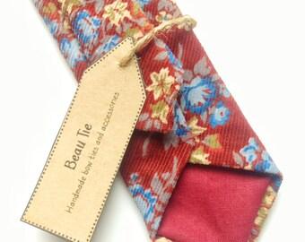 Mens dünn Vintage floral, Vintage dünn Krawatte, floral dünn Krawatte, kirsche rot Krawatte, Burgund Krawatte zu binden