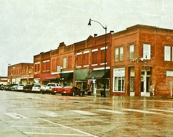 Rustic Photography, Main Street, brick town, small town, brick buildings, brick red, Oklahoma tourism, historic, Fine Art Photography