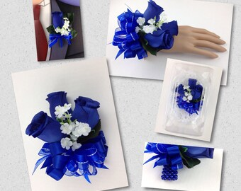 New Artificial Royal Blue Rose Corsage, Royal Rose Mother's Corsage, Royal Boutonniere, Royal Blue Bout, Royal Prom Corsage