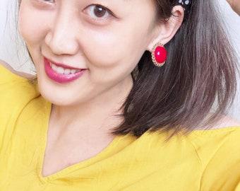 80s Vermillion Round Statement Vintage Earrings