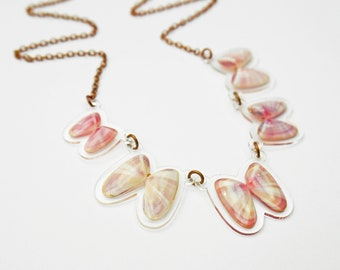 READY MADE SALE - Coquina Shell Necklace - Shell Necklace - Florida Seashell Beach Mermaid Jewelry - Pastel Pink & Lavender
