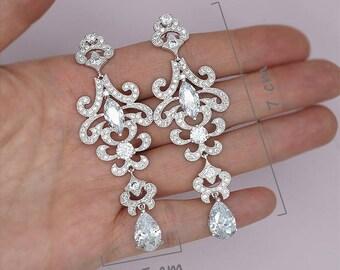 Long Bridal Earrings Chandelier Earrings Statement Earrings Wedding party gifts, Long wedding earrings, CZ Earrings
